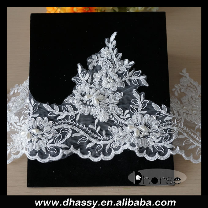 Wholesale bridal beaded fancy embroidery bridal Tulle lace trim DHBL1541