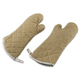 """Parvin Manufacturing Flameguard Oven Mitt, 17"""", One Size Fits All, Terrycloth, Tan - one mitt."""