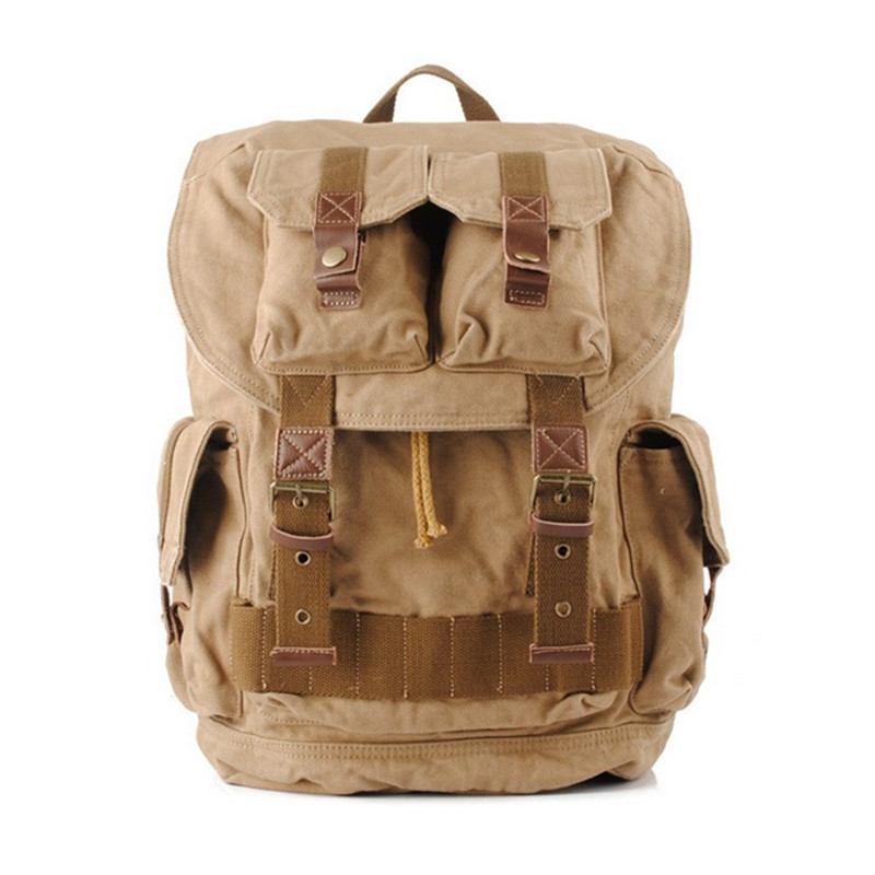 Men's Women's Vintage Canvas Leather Backpack Rucksack Laptop Satchel School Bag free shipping