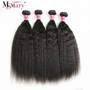 Raw Indian Hair Kinky Straight Hair Bundles Top Quality Remy 100% Virgin Human Hair Weave