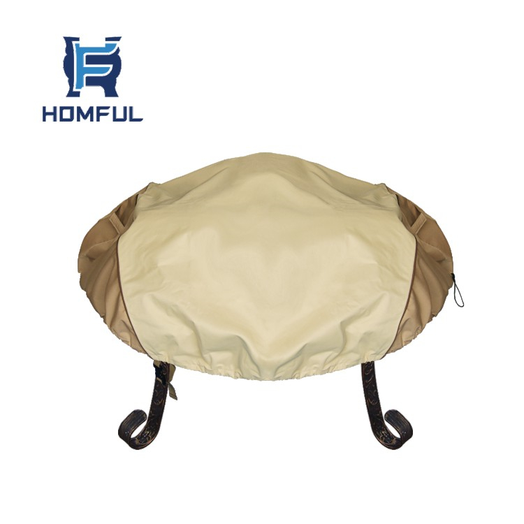 44''Dia Beige Round Patio Fire Pit Cover