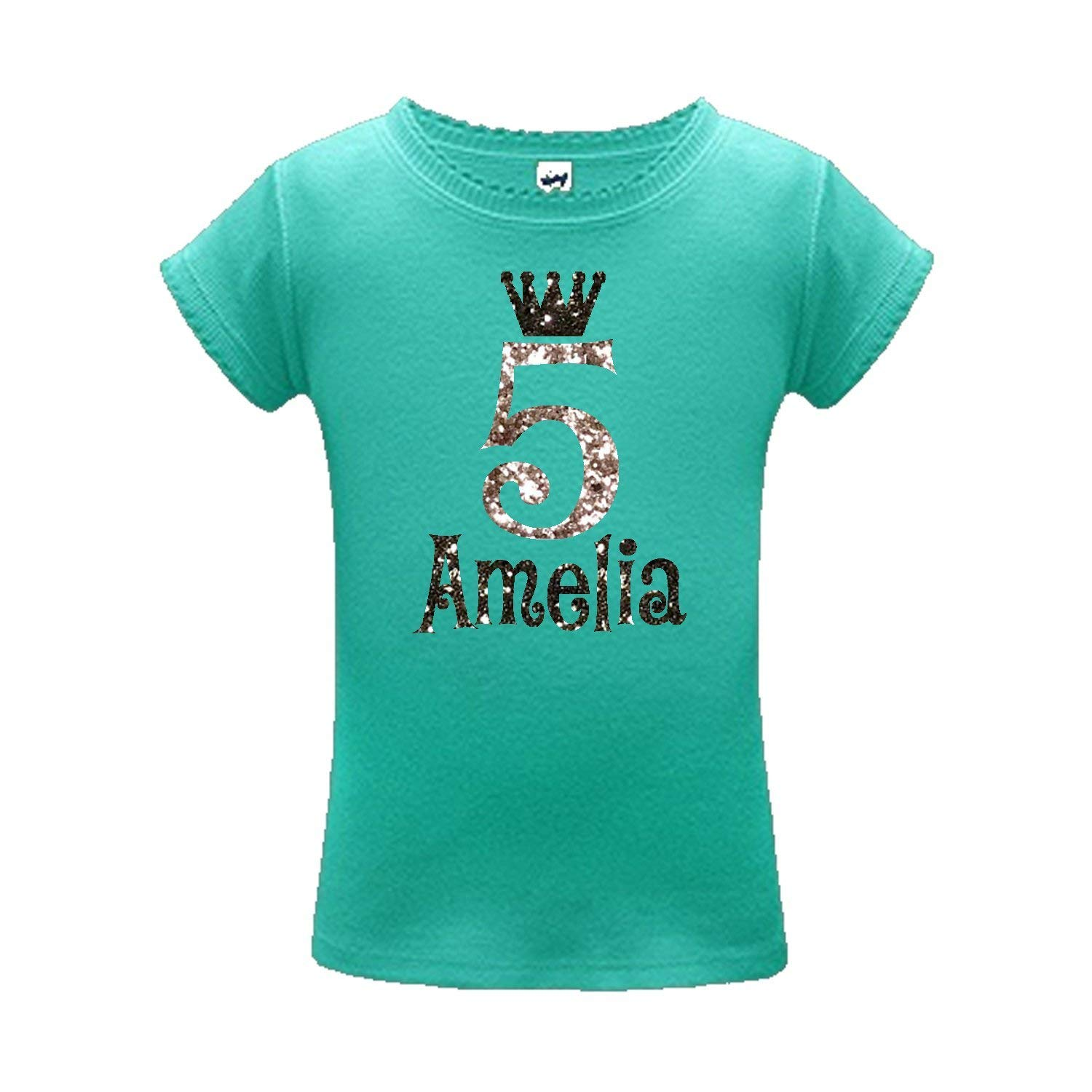 02370a7bd2cf Get Quotations · Personalized Name and Glitter Crown birthday glitter shirt  for girls