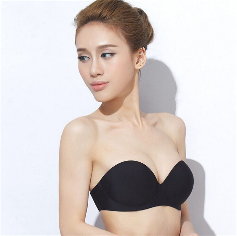 2015 Summer Sexy Strapless Seamless Solid Bra And Brief Sets Invisible Bride Matching Underwear Wireless Side Closure Backless