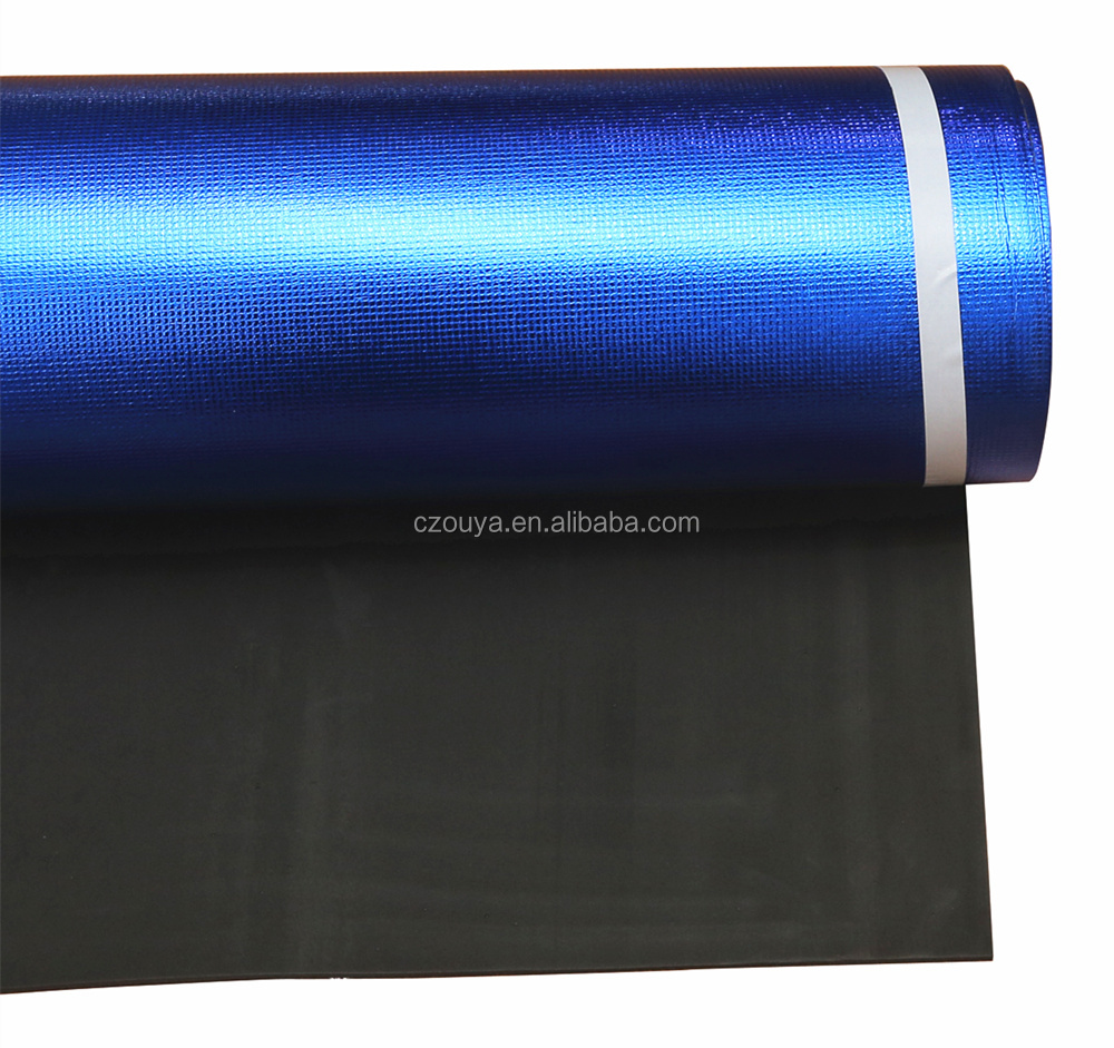 1mm 2mm 3mm black EVA foam with blue aluminium foil waterproof thermal insulation underlayment