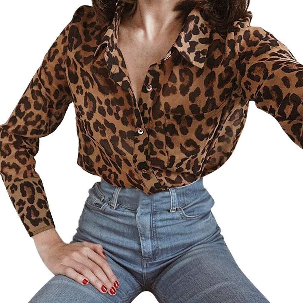Clearance Sale ! Kshion Women's Autumn Winter Leopard Print T Shirt Ladies Loose Long Sleeve Blouse Tops