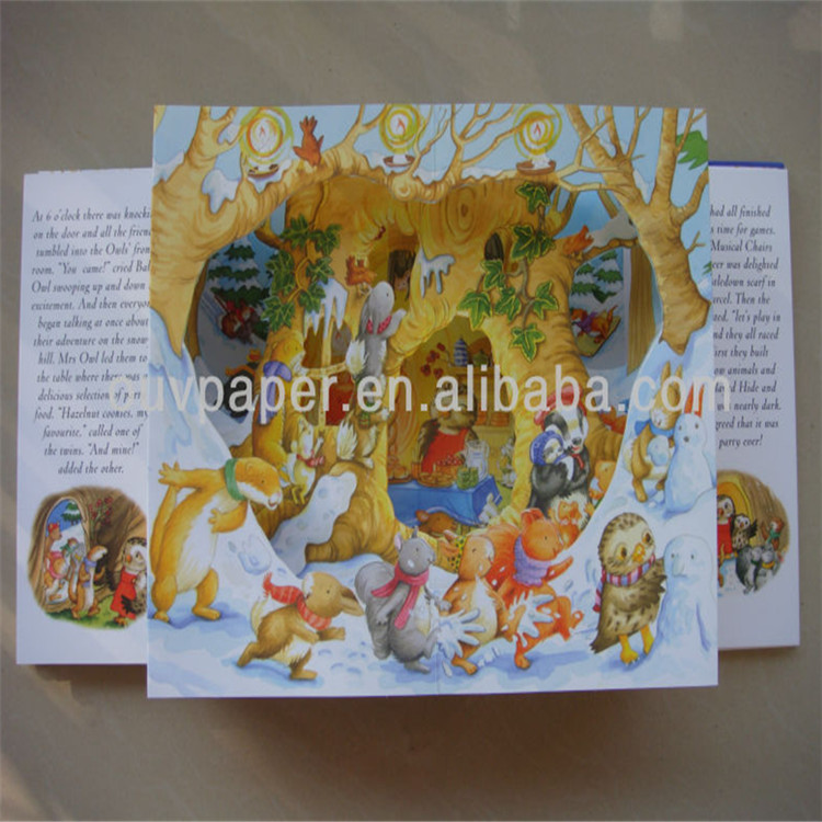 3D English story book waterproof pop up coloring child book printing
