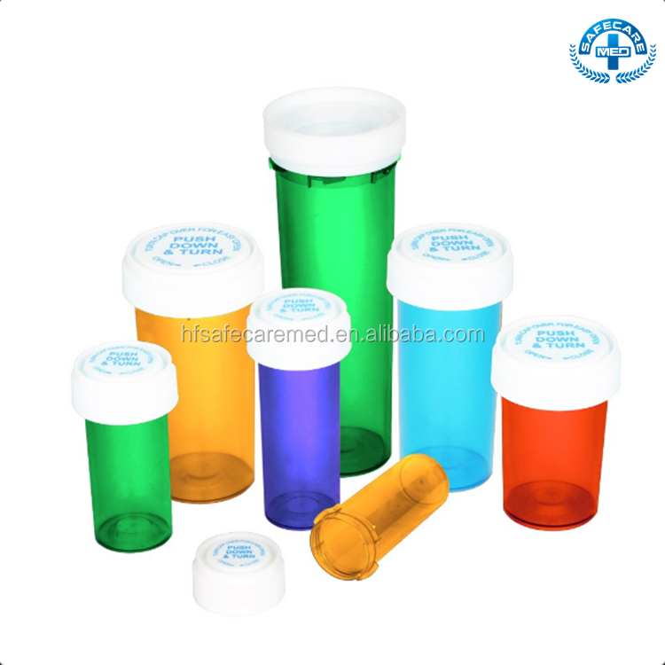 Plastic Reversible Vials Pill Bottles 30 Dram Vials With Child Resistant Cap