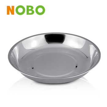 Stainless steel chinese dinner round plate soup tray
