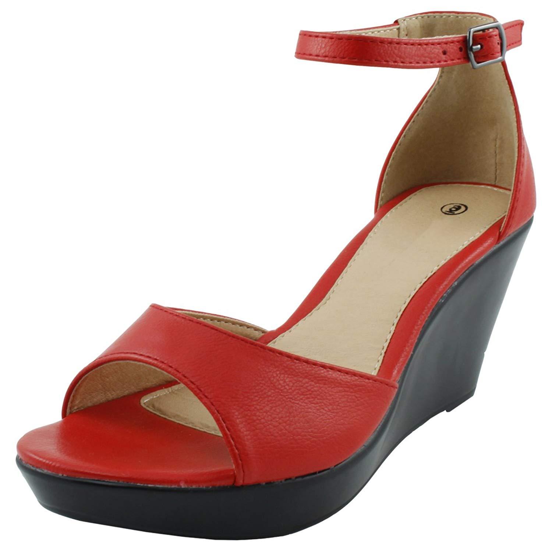 f726f11fe3e Get Quotations · Cambridge Select Women s Open Toe Ankle Strap Platform Wedge  Sandal