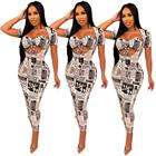 Newspaper printed leisure suit two piece dress clothing for women