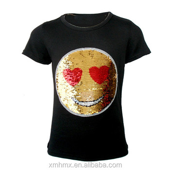 605706f1 Custom Reversible Emoji Emoticons Sequin T Shirt Changing Color Smiley Face  T Shirt For Any AGE