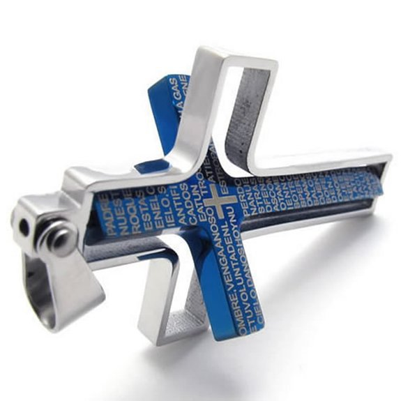 Men's Vintage Stainless Steel Pendant Necklace in Black,Rotating Bible Cross  ,with 23 inch Chain,from  Jewelry Supplier