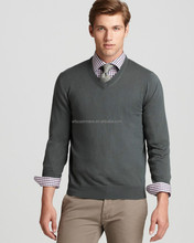 high quality winter knitted pullover v-neck cashmere sweater men