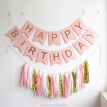 Happy Birthday Banner Kit Bunting Garlands Tissue Paper Tassel Decorations Wholesale Party Supplies