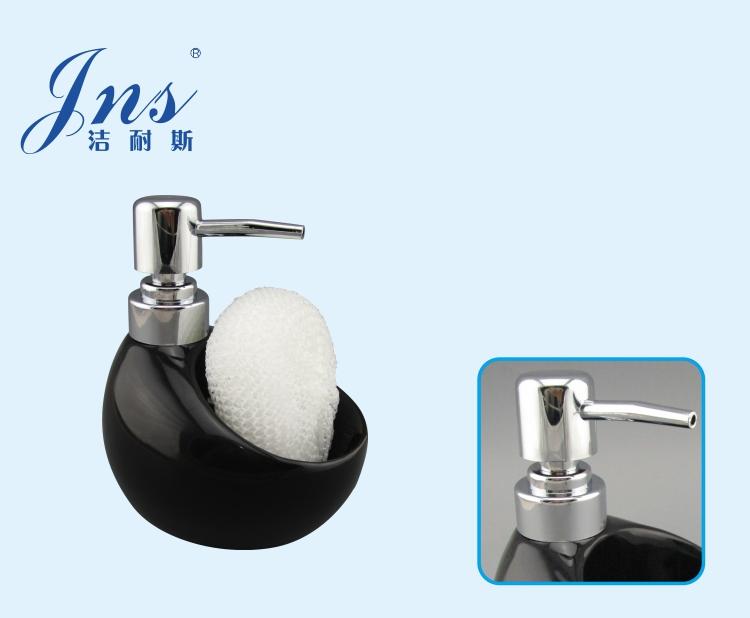 kitchen and bathroom black ceramic hand soap dispenser with sponge