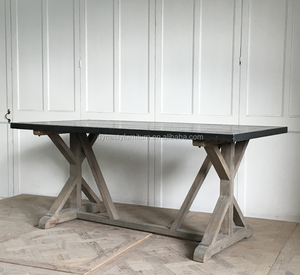 vintage industrial style metal wooden zinc top dining table