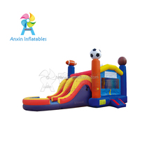 Life Size Party Fun Inflatable Bouncy Castle With Water Slide For Kids