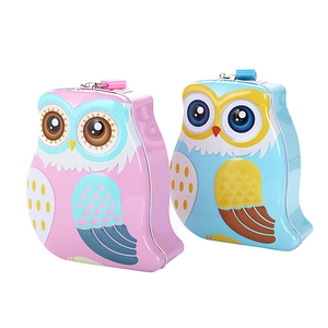 High quality owl shaped Metal piggy bank cartoon coin bank with lock and key store money wholesale