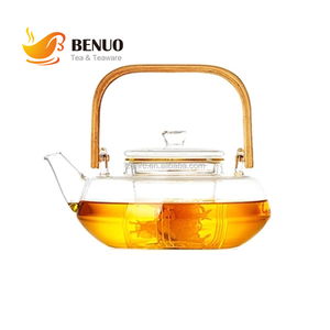 27oz 800ml Personalized Borosilicate Glass Strainer Tea Pot with Wooden Bamboo Handle