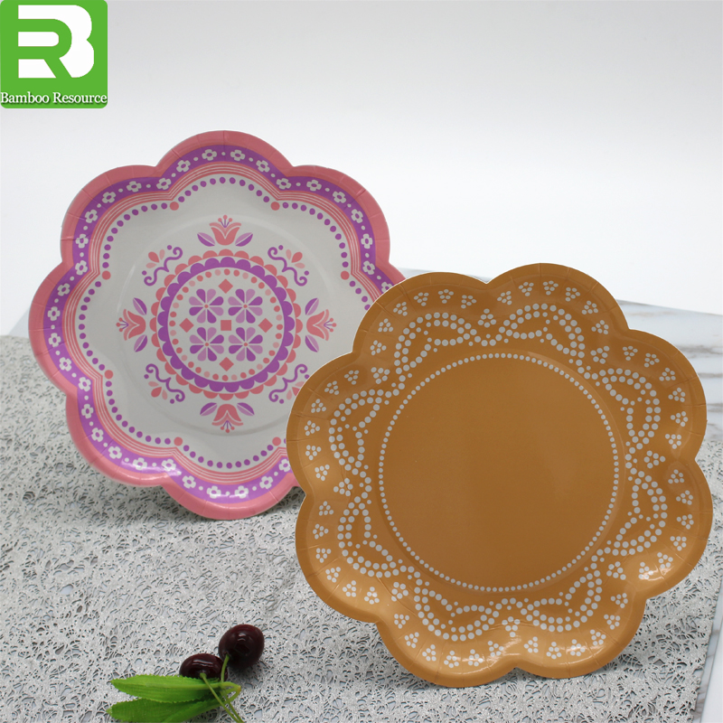 2017 Food grade Party favor flower design pink Disposable paper plate