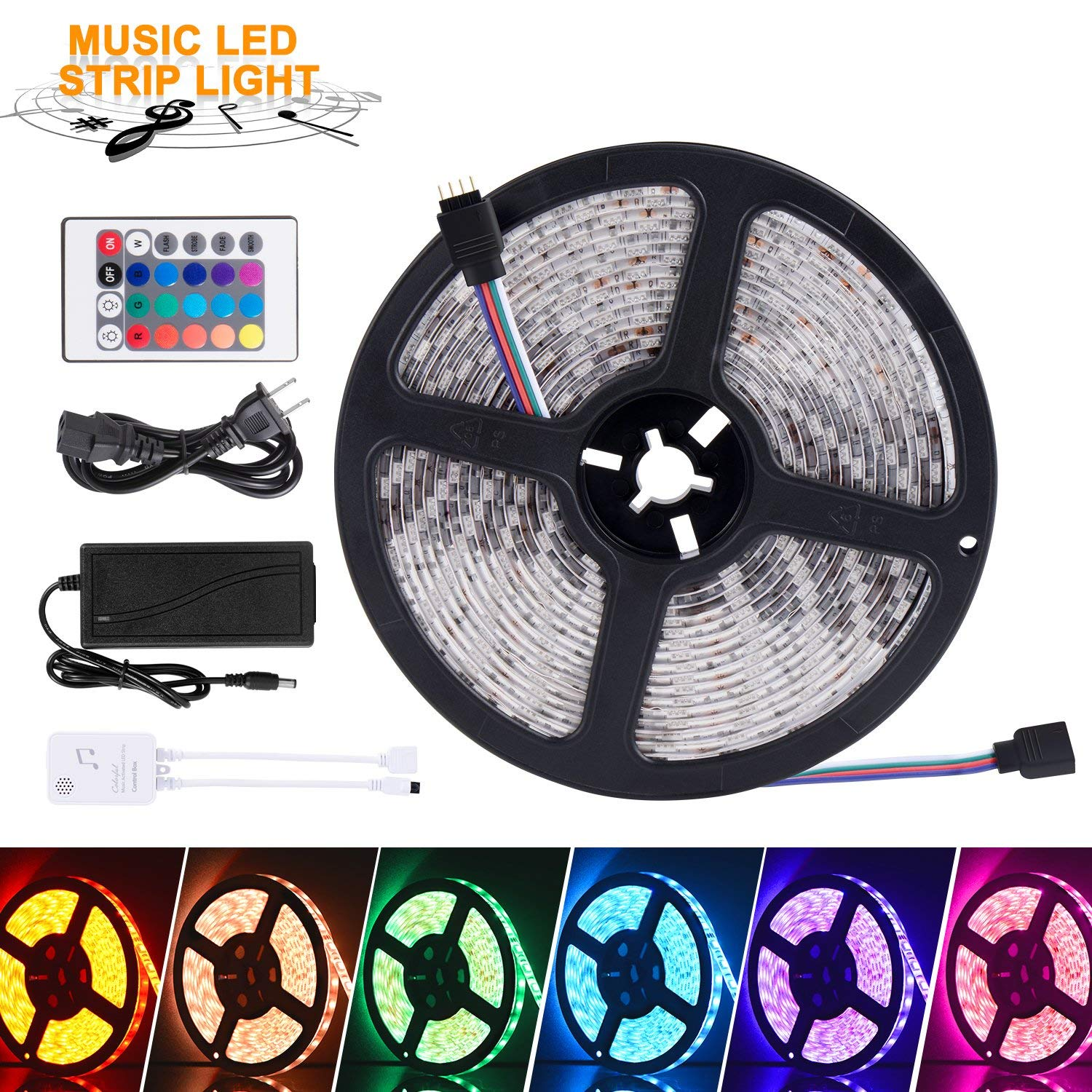 SUNNEST Music Activated LED Strip Light Kit, Waterproof 16.4ft 300 LEDs RGB SMD 5050 LED Tape with Remote Controller, IR Receiver, Power Supply, Sync with Music