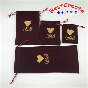 Customized Logo Gold Embroidered Drawstring velvet jewelry promotional pouch Bags