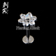 Clear CZ Prong Set Titanium Internally Threaded Flower Lip Ring Labret Studs