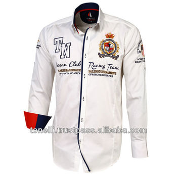 Stylish White Embroidered Mens Shirts from Turkey