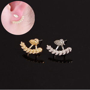 316l Surgical Steel New Fashion Women Cute Gold Silver Leaf Ear Stud Earrings Piercing Jewelry Gift