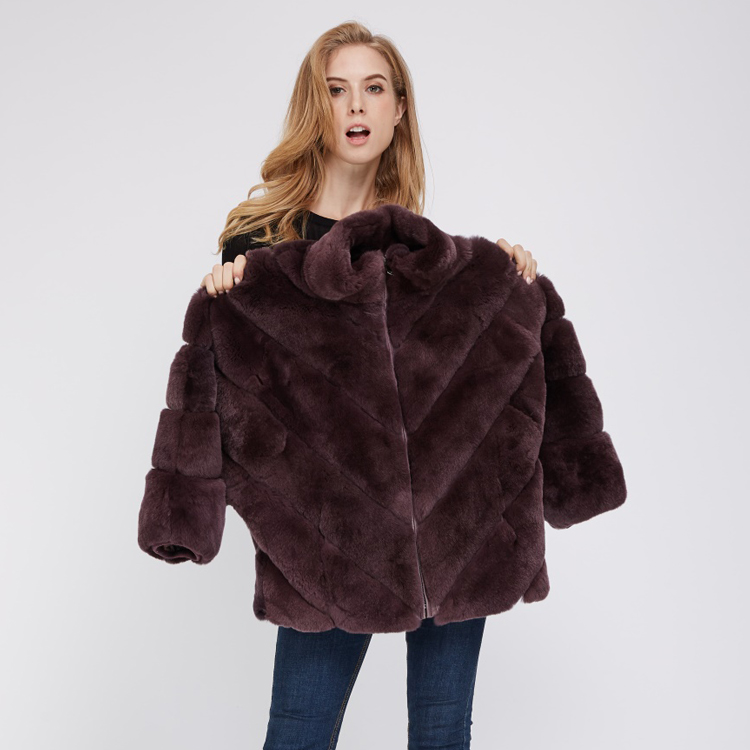 Female Casual Short Style Black Rex Rabbit Fur Coat