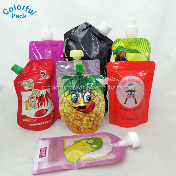 Custom printed clear drink reusable food spout pouch plastic liquid stand up pouch with spout