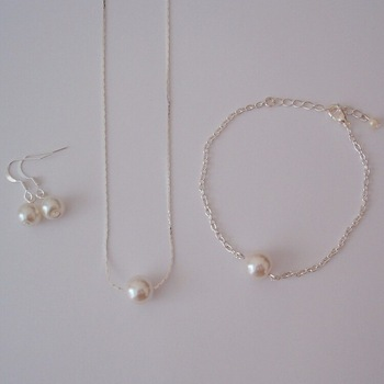 Floating Single Pearl Jewelry Set Bridal Bridesmaid Necklace Bracelet Earrings