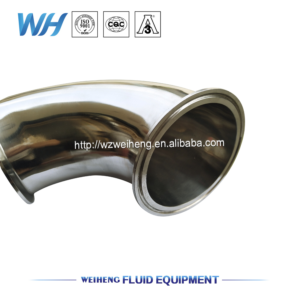 45 Degree Sanitary Stainless Steel Tri Clamp Elbow/ Bend with flange