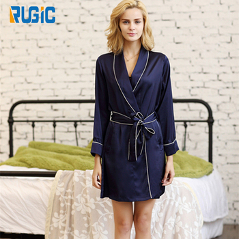 Luxury Classic Design Ladies Sexy Short Robe Pajama Sleepwear Loungewear Satin  Silk Belted Robe Nightdress Honeymoon 25f42cd0b