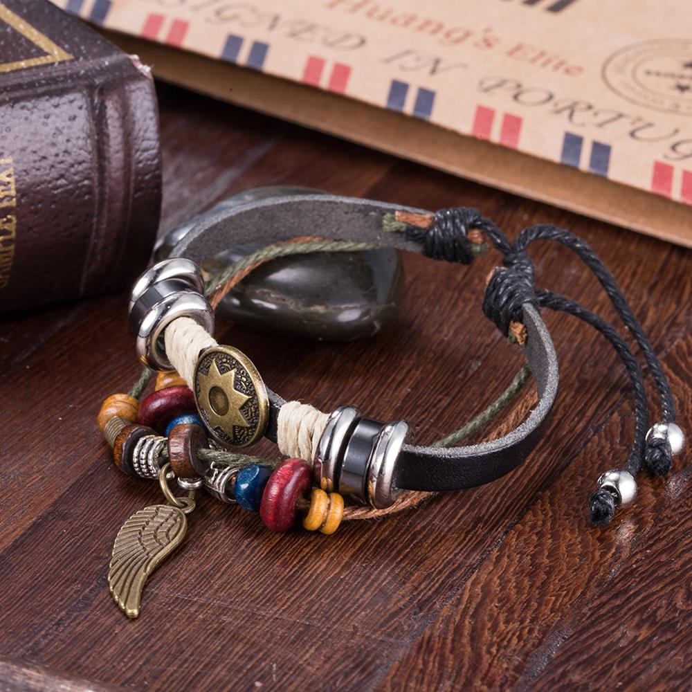 Vintage Wood Beads Leather Cord Bracelets With Alloy Star And Wing pendant For Unisex