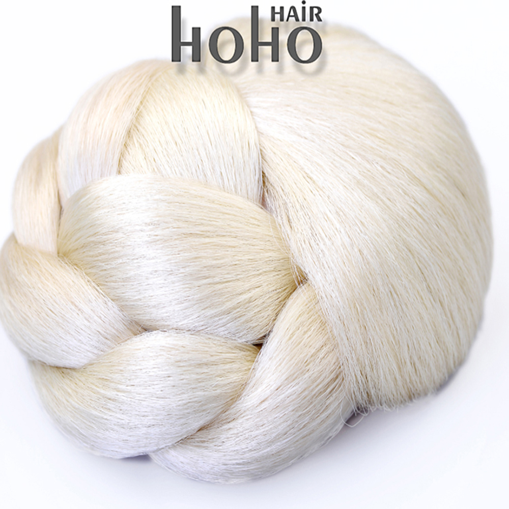 synthetic hair white color bun hair