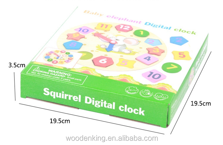 Digital Stereo Clock Shape Building Blocks Early Education Children'S Wooden Kids Learning Toys For Baby