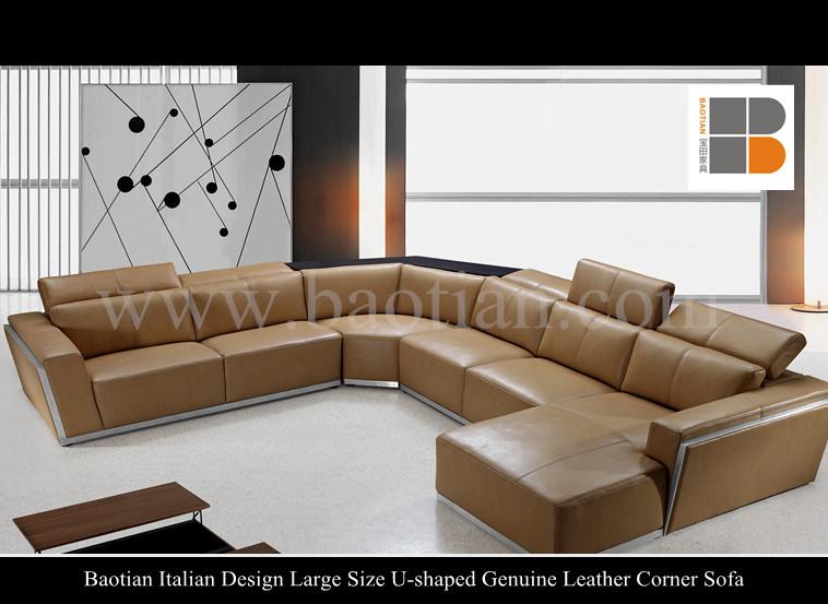 Baotian design italien grande taille en forme de u en cuir v ritable canap d - Canape d angle grande taille ...