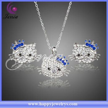 ee80ce96b Cute hello kitty design earring ,pendant fashion 18k gold full jewelry set  (XS098)