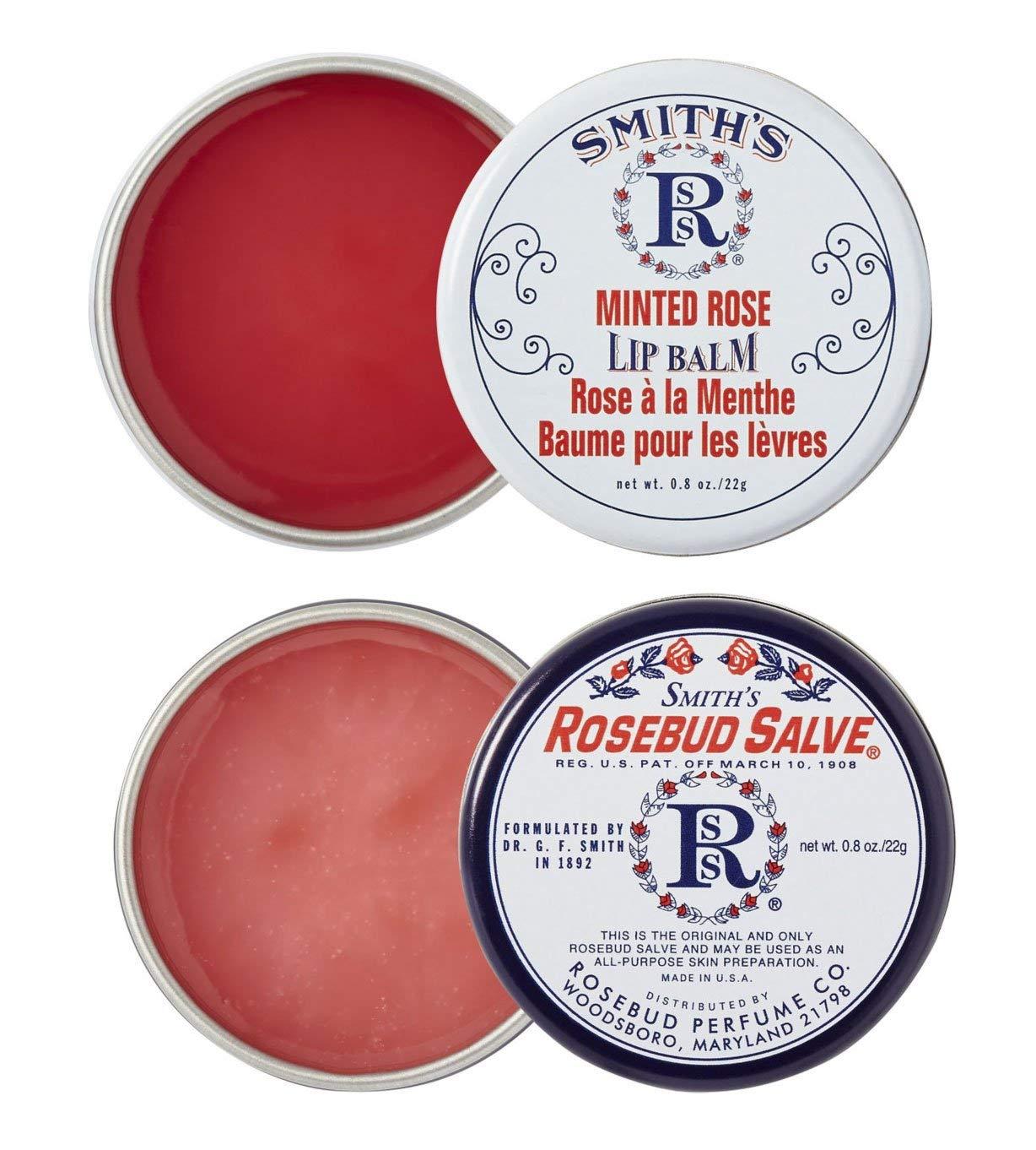 Rosebud Perfume Co. ROSEBUD SALVE / MINTED ROSE Lip Balm Two Pack: 2 x 0.8 tins
