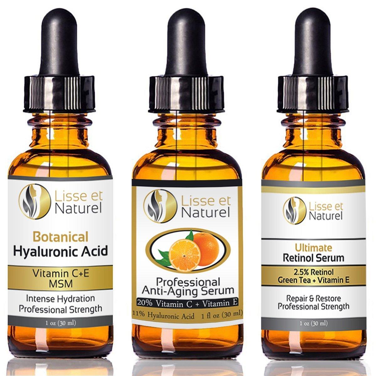 Lisse et Naturel Liquid Facelift, Vitamin C, 2.5% Retinol, Hyaluronic Acid Serum