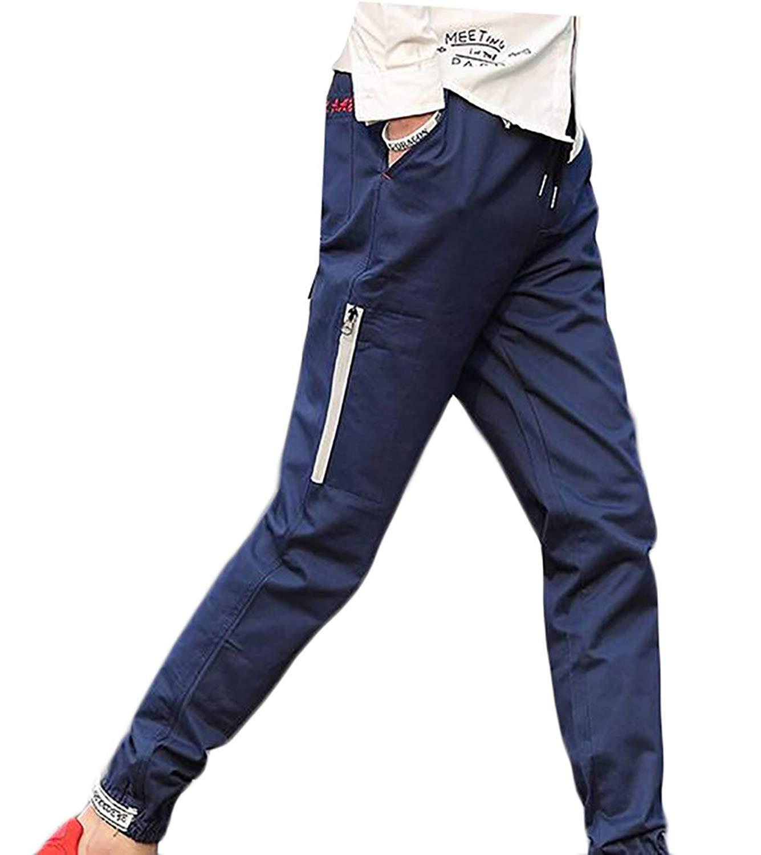 64ce4206252 Get Quotations · ouxiuli Mens Casual Joggers Track Pants Jogging Sweatpants  Zip Gym Tracksuit Bottoms