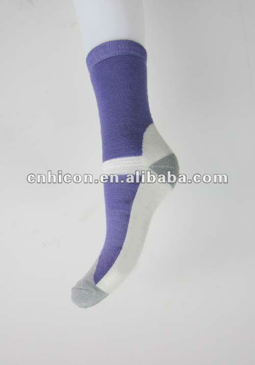 White Purple Kids Children Merino Wool Walking Sports Sock