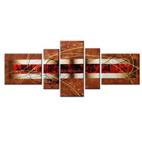100% Hand Painted Art Work/Abstract Modern Handmade Wall Decor Art/Home Landscape Oil Paintings Splice 5-piece/set
