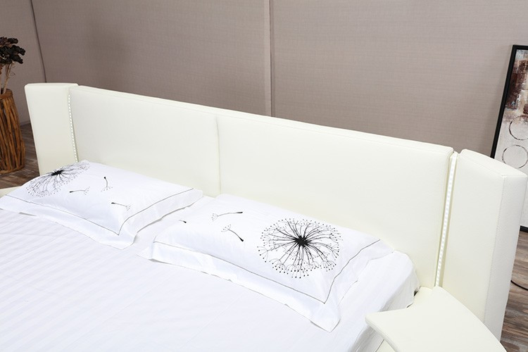 2016 latest design king size white leather round rotating for Latest bed designs 2016