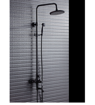 Black Exposed Shower Set Bathroom With Faucet Sets