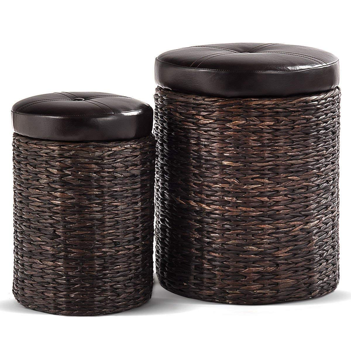 Globe House Products GHP 2-Pcs 330-Lbs Capacity Brown Rattan Wicker Foot Rest Stools with Hidden Storage