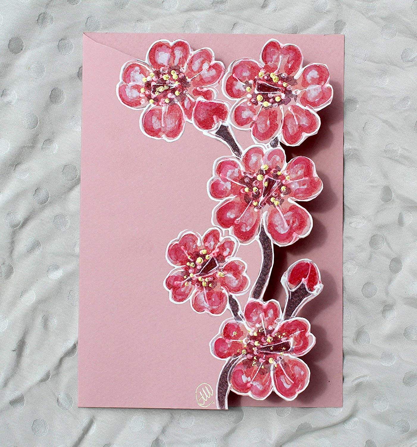 Sale!!!20% Off,Unique Cherry Blossom Unusual Gift Card/Sakura Blossom/Hand Made Painted Card/Personalised Cherry Blossom Card/Spring Card/Japanese Greeting Card.