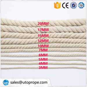 Utop Macrame twisted rope 3-20 mm, 3-Strand Twisted Cotton Rope, Natural cotton rope