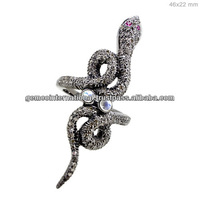 Pave de diamantes anillos de serpiente natural con la plata de las piedras preciosas de la joyeria